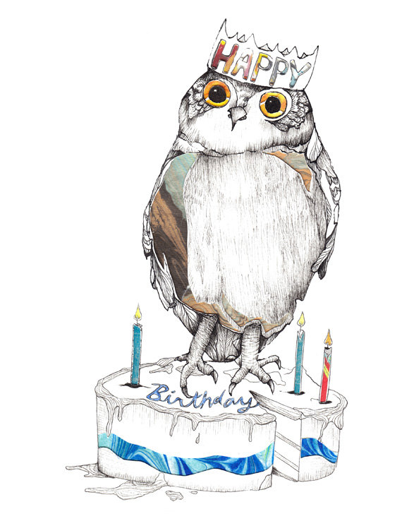 Открытка с днем рождения с совой женщине